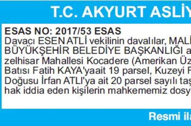 T.C. AKYURT ASLİYE HUKUK MAHKEMESİNDEN