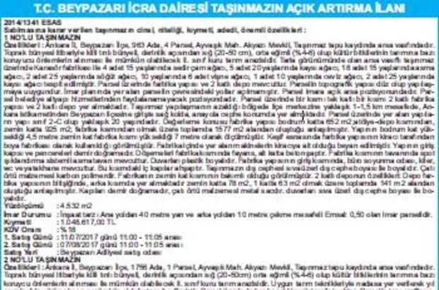 T.C. BEYPAZARI İCRA DAİRESİ TAŞINMAZIN AÇIK ARTIRMA İLANI