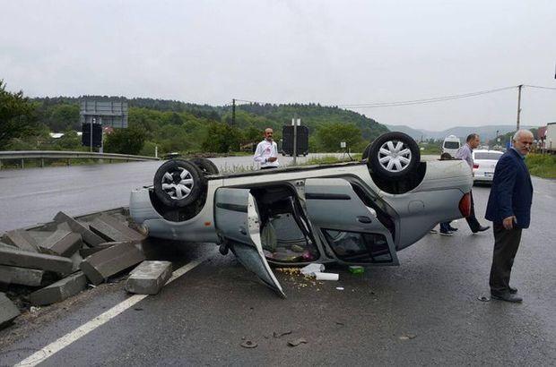Bolu'da otomobil takla attı; 2 yaralı