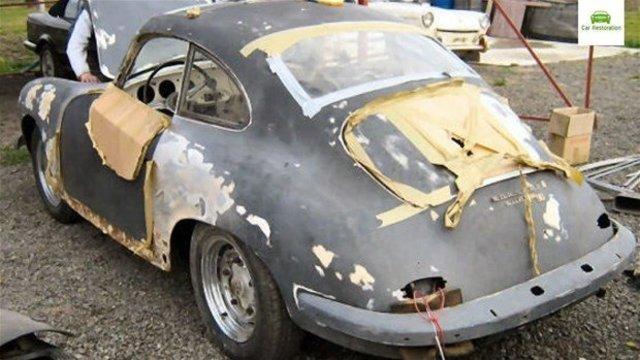 1955 model Porsche'u baştan yarattı