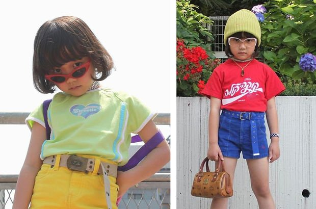 İşte ünlüleri kopyalayan küçük kız