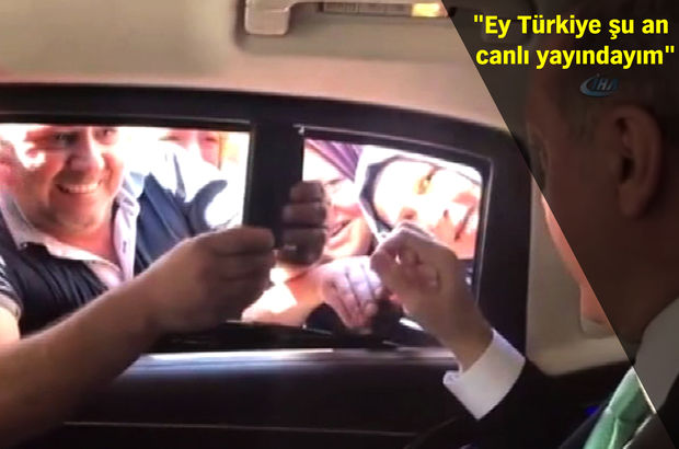 Cumhurbaşkanı Erdoğan'ı gören vatandaşın canlı yayın heyecanı kamerada