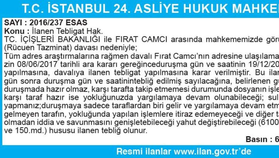 T.C. İSTANBUL 24. ASLİYE HUKUK MAHKEMESİ İLAN