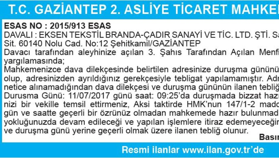 T.C. GAZİANTEP 2. ASLİYE TİCARET MAHKEMESİNDEN İLAN