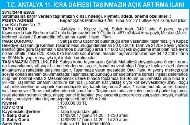 T.C. ANTALYA 11. İCRA DAİRESİ TAŞINMAZIN AÇIK ARTIRMA İLANI