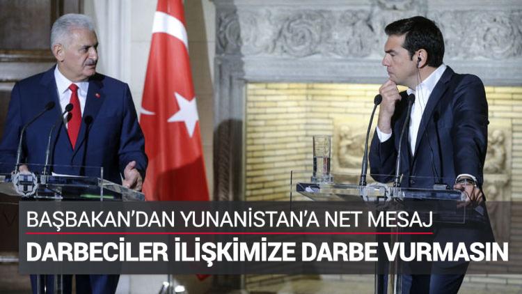 Yunanistan Başbakanı Alexis Çipras, Başbakan Binali Yıldırım ile düzenlediği basın toplantısında 15 Temmuz sonrası Yunanistan'a kaçan darbeci askerlere de değindi.