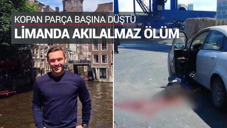 İzmir Limanı'nda, vinç üzerindeki konteynerin kopan kilidi başına düşen 25 yaşındaki Fırat Göktuna yaşamını yitirdi.