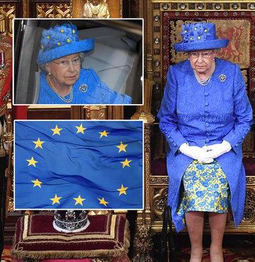 Kraliçe'nin şapkasından Avrupa Birliği çıktı