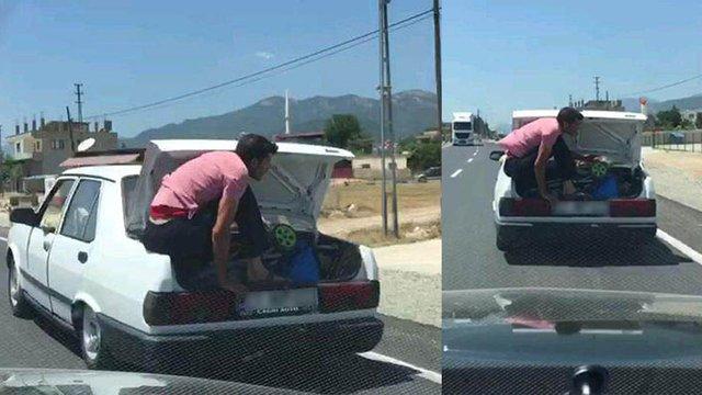 10 kişinin bulunduğu otomobilin bagajında tehlikeli yolculuk!