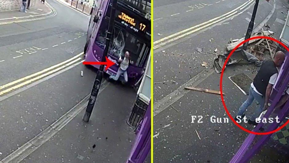 Otobüsün çarptığı adam ayağa kalkıp bara girdi!
