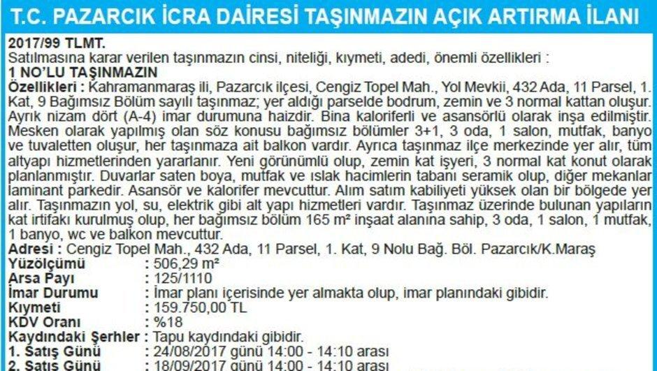 T.C. PAZARCIK İCRA DAİRESİ TAŞINMAZIN AÇIK ARTIRMA İLANI