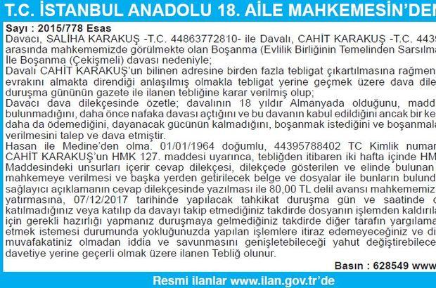 T.C. İSTANBUL ANADOLU 18. AİLE MAHKEMESİN'DEN İLAN