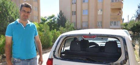 Kahramanmaraş'ta aracın arka camına 'yorgun mermi' düştü