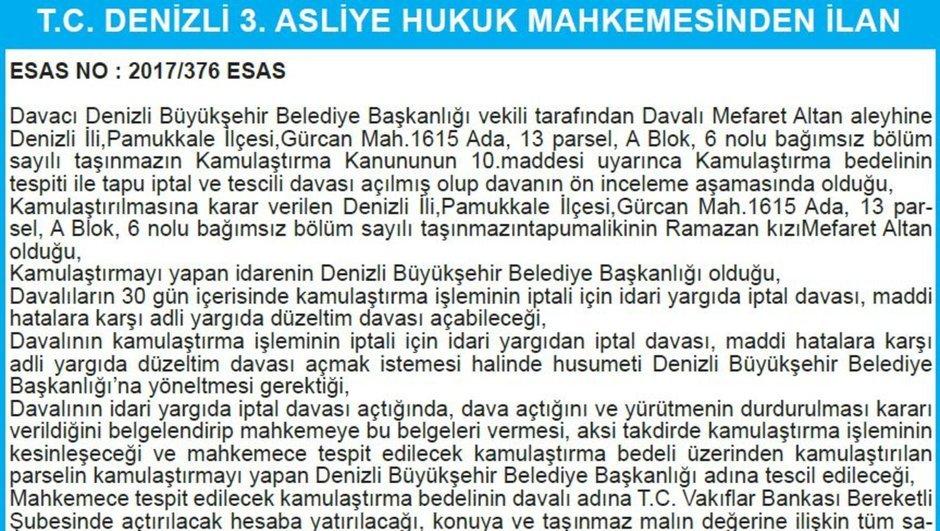 T.C. DENİZLİ 3. ASLİYE HUKUK MAHKEMESİNDEN İLAN