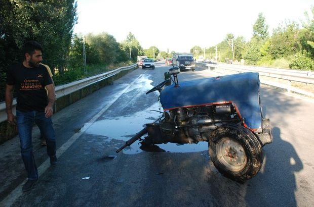 Tokat'ta ikiye bölünen traktörün sürücüsü yara almadan kurtuldu