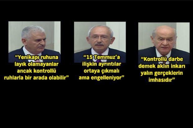 Binali Yıldırım, Kemal Kılıçdaroğlu, Devlet Bahçeli 15 Temmuz Özel Oturumu