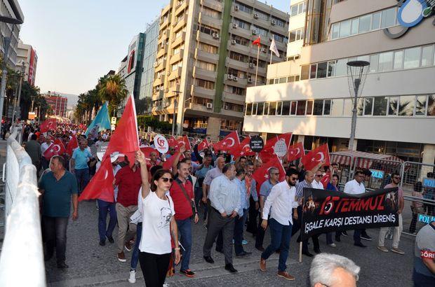İzmir'de 15 Temmuz 'Milli İradeye Saygı Yürüyüşü' yapıldı
