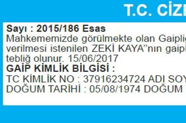 T.C. CİZRE SULH HUKUK MAHKEMESİ İLAN