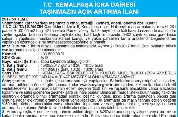 T.C. KEMALPAŞA İCRA DAİRESİ TAŞINMAZIN AÇIK ARTIRMA İLANI
