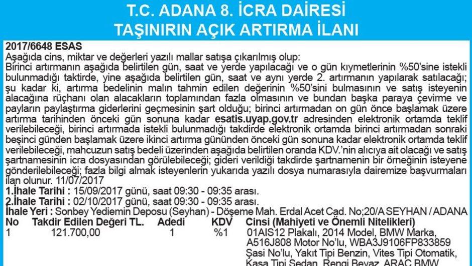 T.C. ADANA 8. İCRA DAİRESİ TAŞINIRIN AÇIK ARTIRMA İLANI