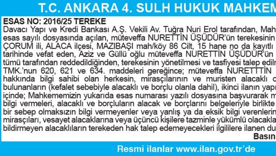 T.C. ANKARA 4. SULH HUKUK MAHKEMESİ İLAN