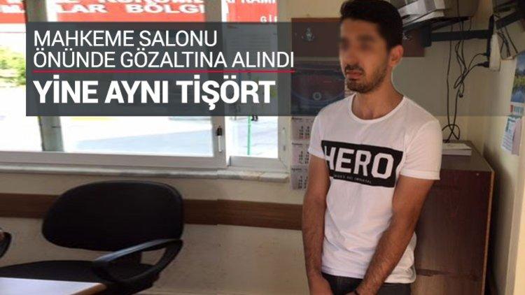 """Ankara'da üzerinde """"Hero (Kahraman)"""" yazılı tişörtle, Polatlı darbe davasının görüldüğü Sincan Cezaevi Yerleşkesi'ndeAnkara'da üzerinde """"Hero (Kahraman)"""" yazılı tişörtle duruşma salonuna girmek isteyen kişi gözaltına alındıki duruşma salonuna girmek istey"""