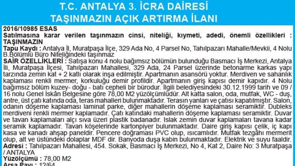 T.C. ANTALYA 3. İCRA DAİRESİ TAŞINMAZIN AÇIK ARTIRMA İLANI
