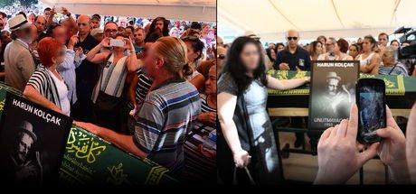 Harun Kolçak'ın cenazesinde tepki çeken görüntüler! Fotoğraf yarışı...