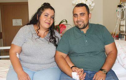 130'ar kiloluk çift, fazla kilolarından tüp mide ameliyatı ile kurtuluyor