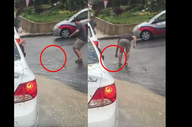 İstanbul'da yağmur sonrası asfaltta yüzmeye çalışan bu balık kameralara takıldı