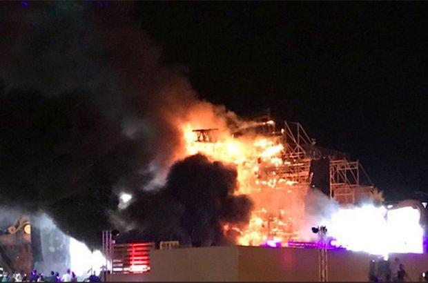 Barcelona'daki festivalde yangın çıktı