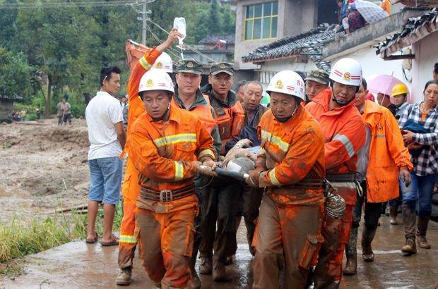 Çin'de heyelan