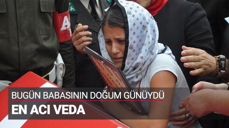Maçka'da şehit düşen Jandarma Astsubay Kıdemli Başçavuş Ferhat Gedik'in çocukları babalarına doğum gününde veda etti.