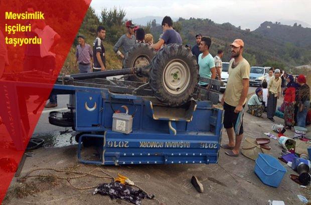 Traktör devrildi: Çok sayıda yaralı var