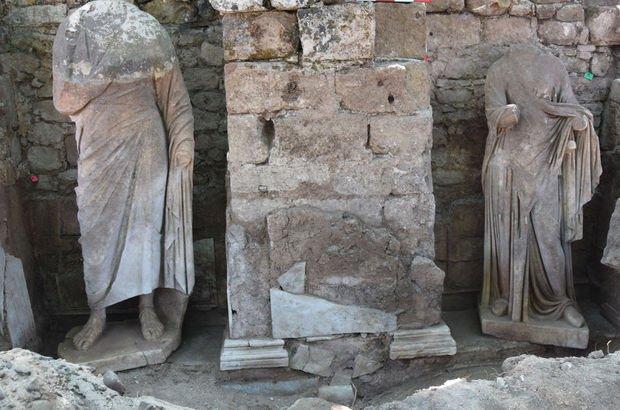 Side Antik Kentinde Roma Dönemi'ne ait iki heykel bulundu