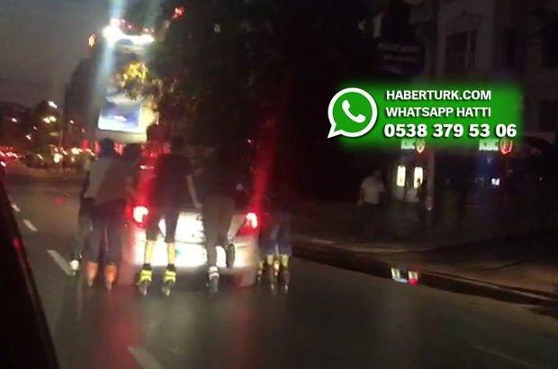 Kadıköy'deki patenli gençlerin tehlikeli yolculuğu kamerada!