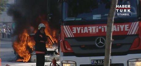 Halkalı'da LPG'li bir araçta yangın çıktı! Bazı sürücüler yangını umursamadı!