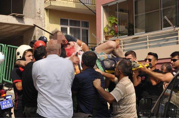 İzmit'te bir kişi başına saplanan demir çubukla hastaneye kaldırıldı