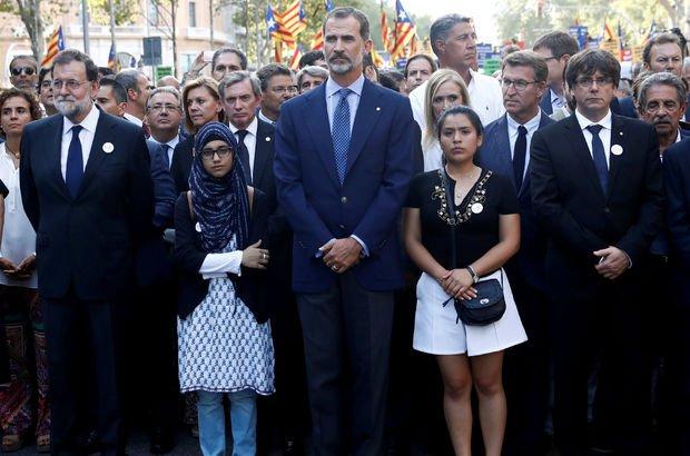 İspanya Kralı tepki yürüyüşünü Müslüman bir kadınla yaptı