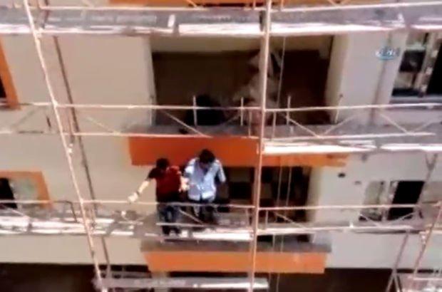 İnşaat işçilerinin tehlikeli halayı