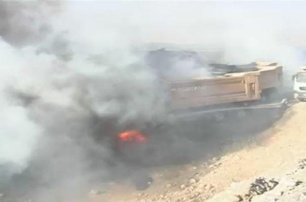 Siirt'te PKK'lı teröristler 11 iş makinesini yaktı