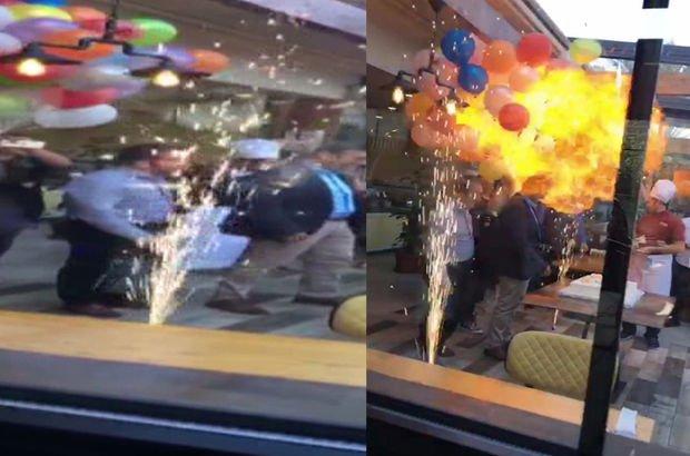 Mersin'de kutlama sırasında balonlar böyle patladı! (video)