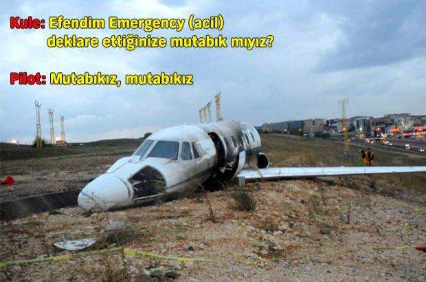 Atatürk Havalimanı'nda düşen jetin pilotu ile kule görevlisinin konuşması
