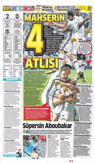 Beşiktaş'ın zaferi için atılan 25 manşet