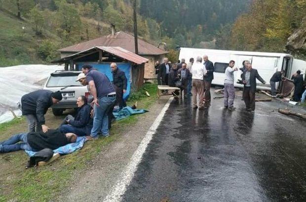 Giresun'da yayladan dönen tur otobüsü devrildi: 19 yaralı