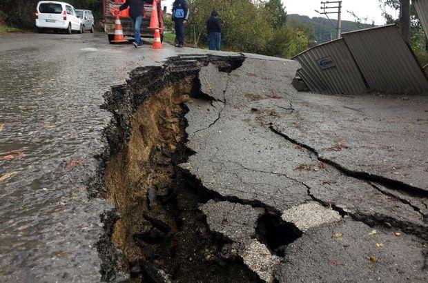 Zonguldak'ta heyelan sonucu yol çöktü