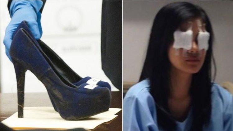 Topuklu ayakkabısıyla kör etti