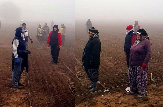 Tarlada çalışan kadınlar, 09.05'de Ata'ya saygı duruşunda!