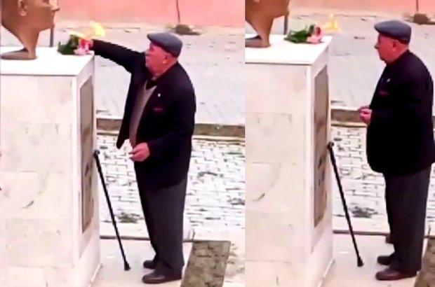 Atatürk büstüne çiçek bırakan yaşlı amca