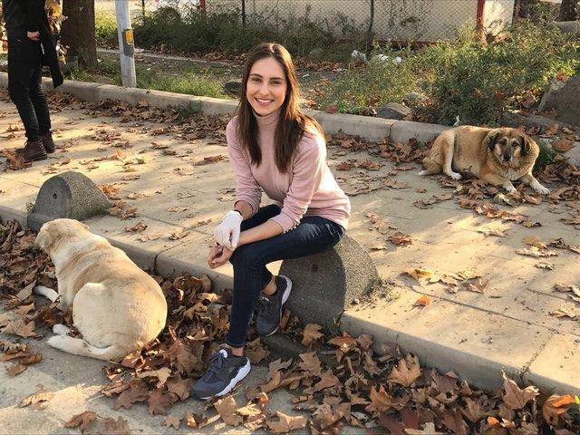 Oyuncu Jessica May İstanbul'da sokak hayvanlarını besledi